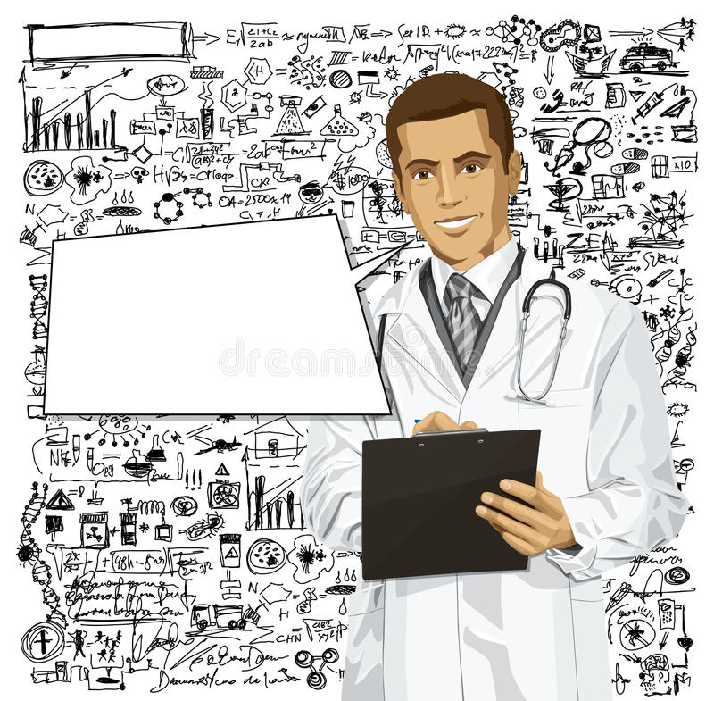 Vector Doctor Man With Clipboard. Vector doctor man writing something with marker on clipboard vector illustration