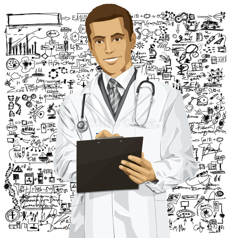 Vector Doctor Man With Clipboard. Vector doctor man writing something with marker on clipboard stock illustration