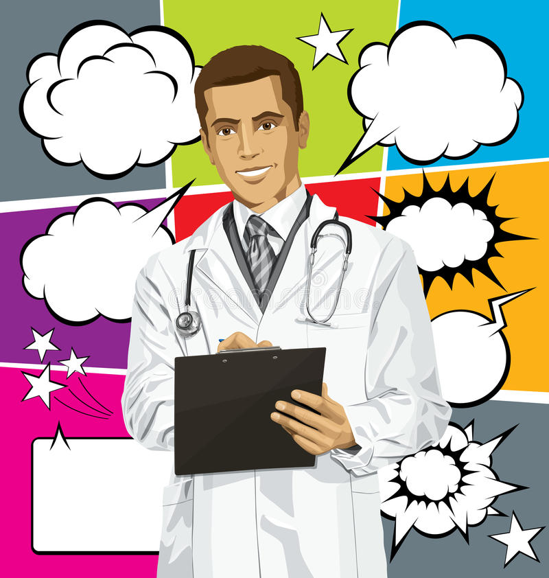 Vector Doctor Man With Clipboardr And Bubble Speech stock illustration