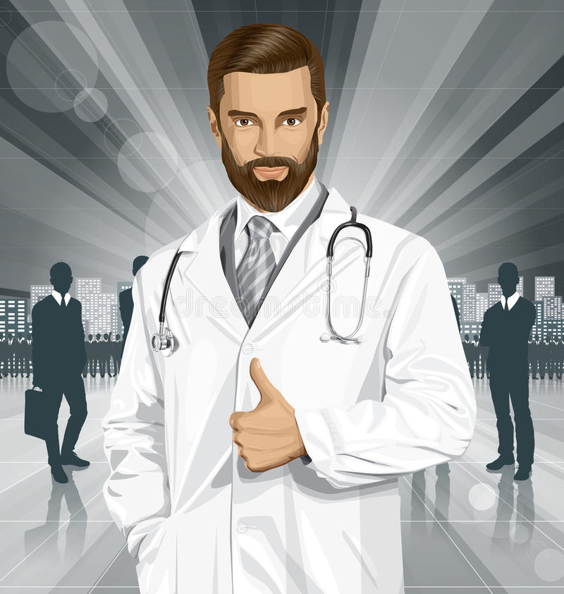 Vector Doctor With Stethoscope. Vector doctor man with stethoscope shows well done vector illustration