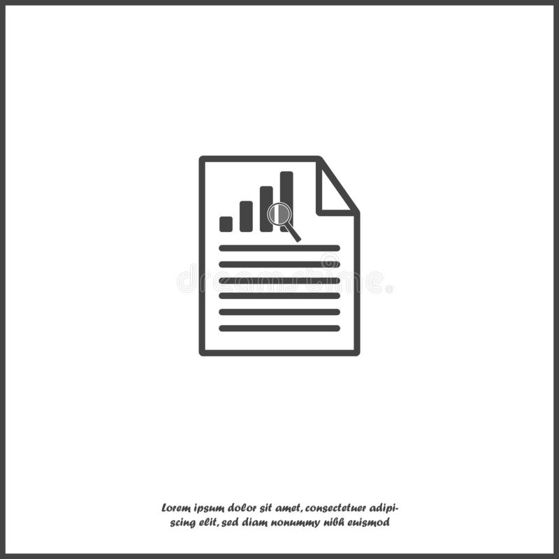 Vector document icon with growth rate and text on white isolated background. Symbol of fast money. Vector document icon with growth rate and text on white vector illustration