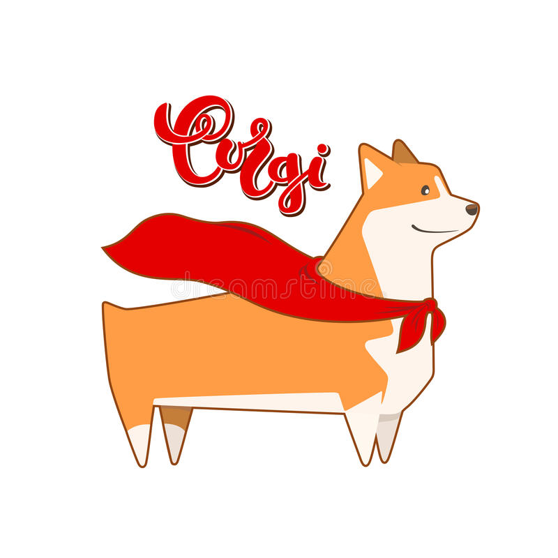 Vector dog corgi in hero cape. Breed inscription in calligraphy handmade design. Handwritten lettering vector illustration