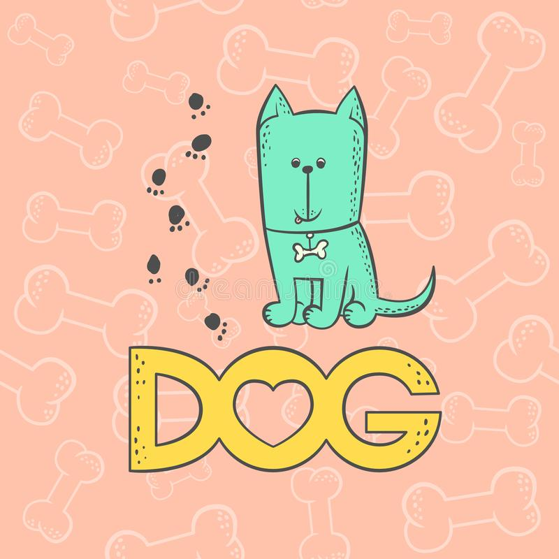 Vector dog funny caricature animal cartoon character with collar. Contour flat bright pet isolated colorful sketch stock illustration