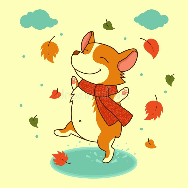 Vector dog jumping on the autumn puddles. Welsh corgi dog. For Xmas, New Year poster, calendar. Flyer, greeting card, holiday, celebration, party, pet shop
