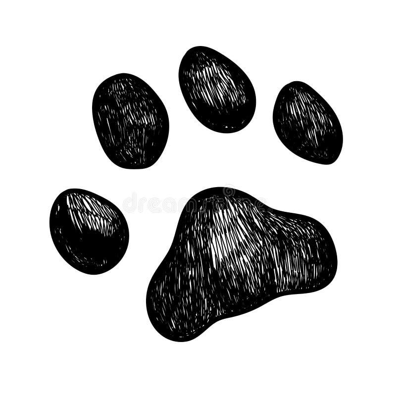 Vector dog paw print. Vector illustration sketch of a dog paw print stock illustration
