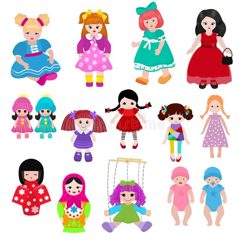 Vector doll toy cute girl female set illustration childhood baby dress face child beautiful dollhouse children baby vector illustration