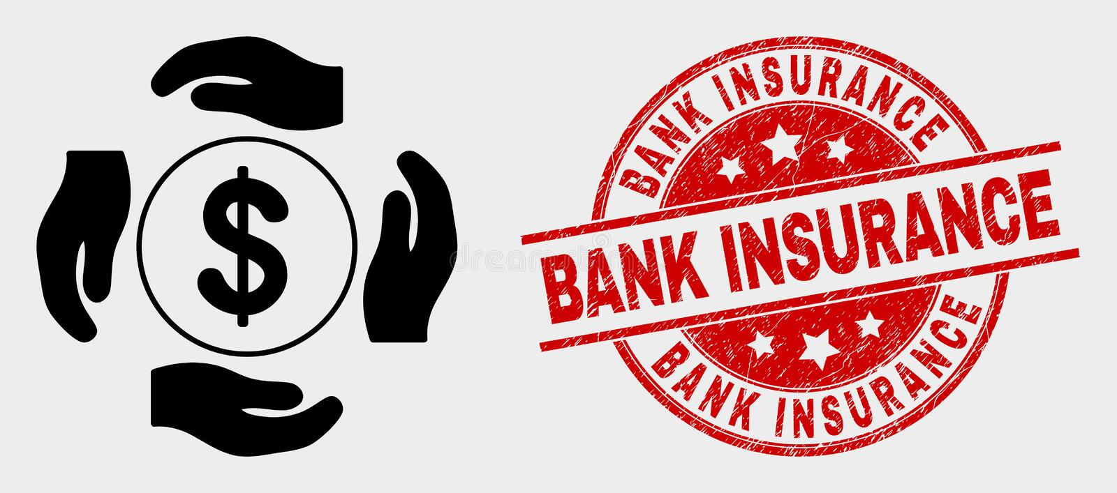 Vector Dollar Care Hands Icon and Distress Bank Insurance Stamp Seal. Vector dollar care hands pictogram and Bank Insurance watermark. Red rounded scratched royalty free illustration