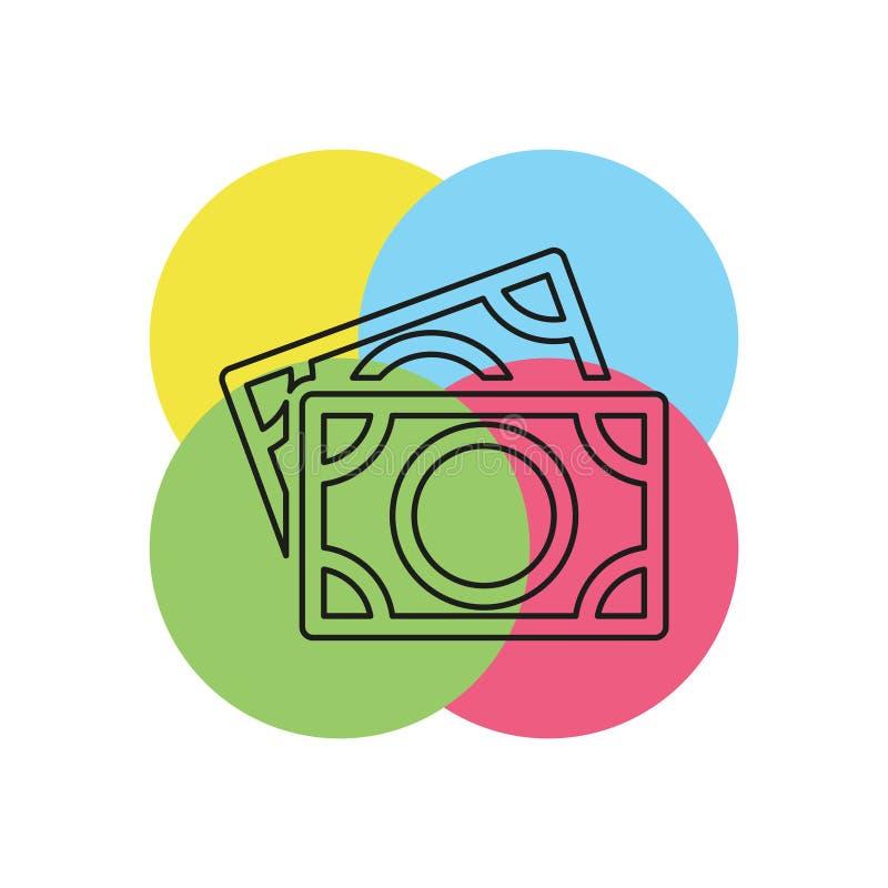 Vector Dollars sign, money dollars icon. Currency dollar bill symbol. Thin line pictogram - outline stroke stock illustration