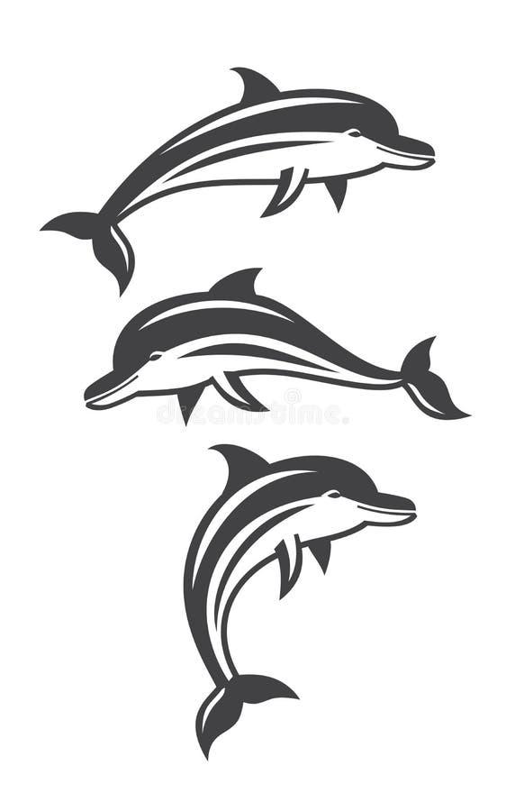 Vector dolphin set vector illustration