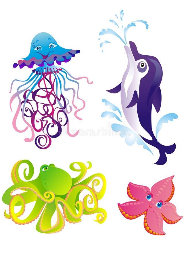 Vector dolphin, starfish, octopus, jellyfish royalty free illustration