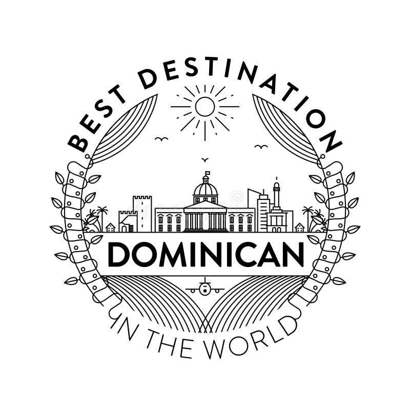 Vector Dominicaans Stadskenteken, Lineaire Stijl royalty-vrije illustratie