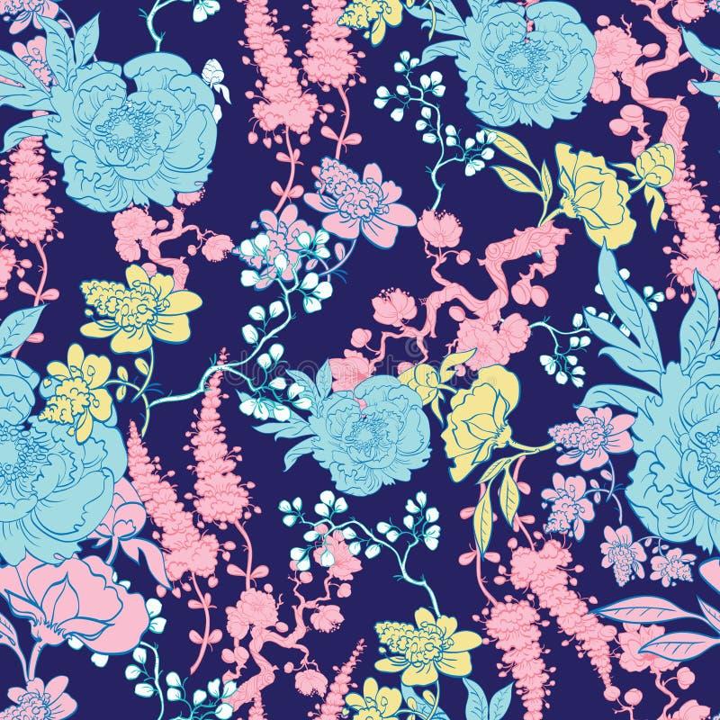 Vector Donkerblauwe Gele Roze Kimono Bloemen royalty-vrije illustratie
