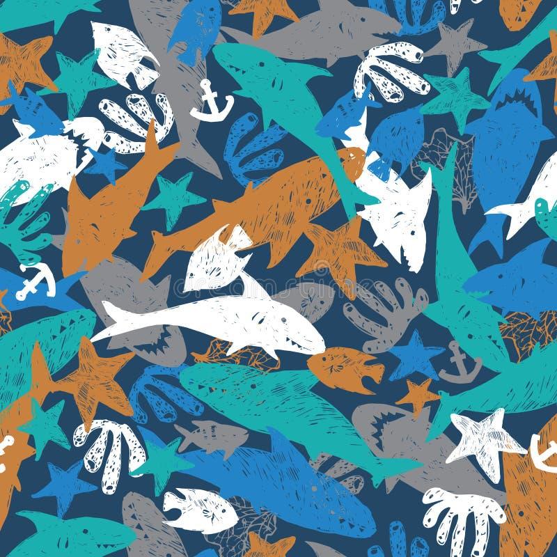 Vector donkerblauwe kleurige haaienpen Schets chaotisch schema herhalingspatroon Ideaal voor stof, plakken en behangpapier vector illustratie