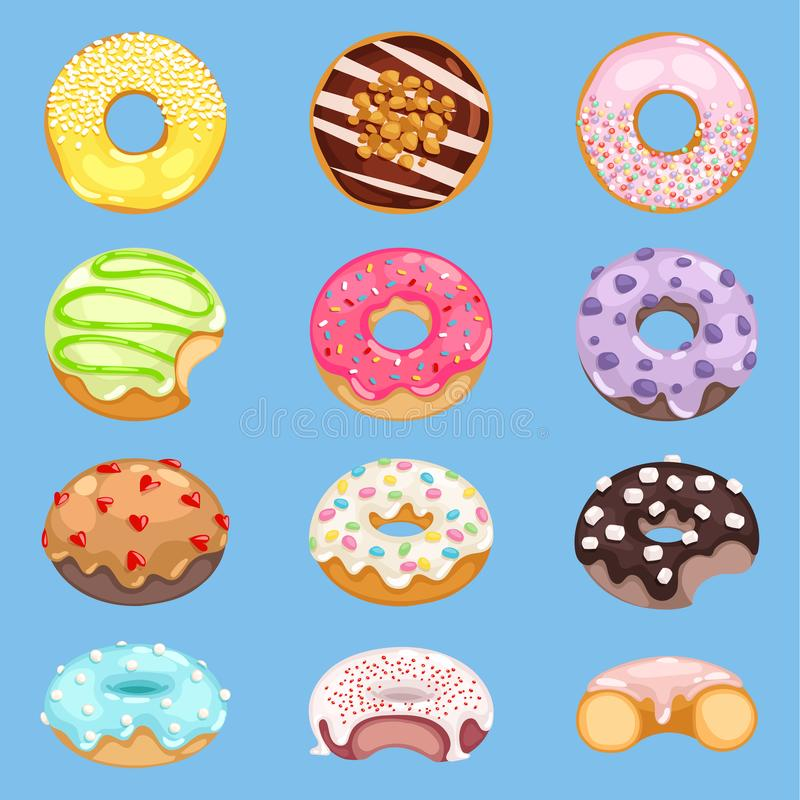 Vector donut food and glazed sweet dessert with sugar or chocolate in bakery illustration doughnut set of colorful. Backed dough with icing isolated on stock illustration