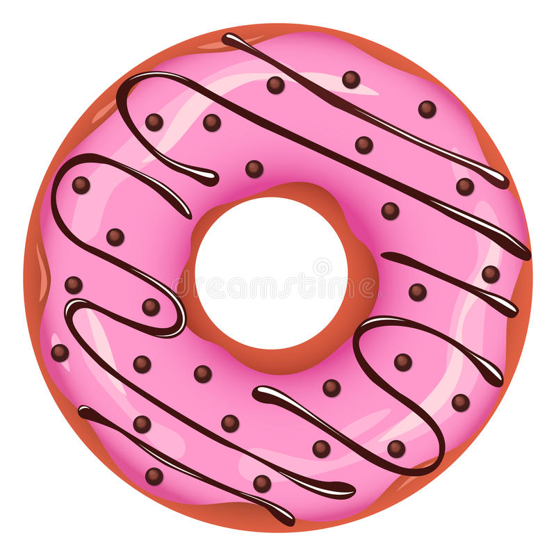 Vector donut. With pink glaze, chocolate sauce and sprinkles royalty free illustration