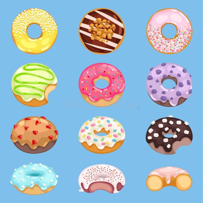 Vector Donutlebensmittel und glasig-glänzende Süßspeise mit Zucker oder Schokolade im Bäckereiillustrations-Donutsatz von buntem stock abbildung
