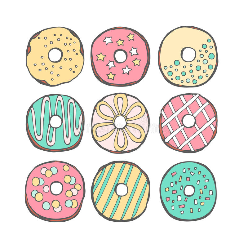 Vector donuts cute royalty free stock images