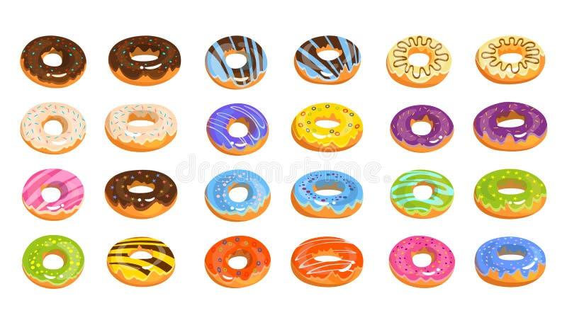 Vector donuts op witte achtergrond in beeldverhaalstijl die wordt geïsoleerd Heerlijke doughnuts met chocolade, citroen, roze, vi royalty-vrije illustratie