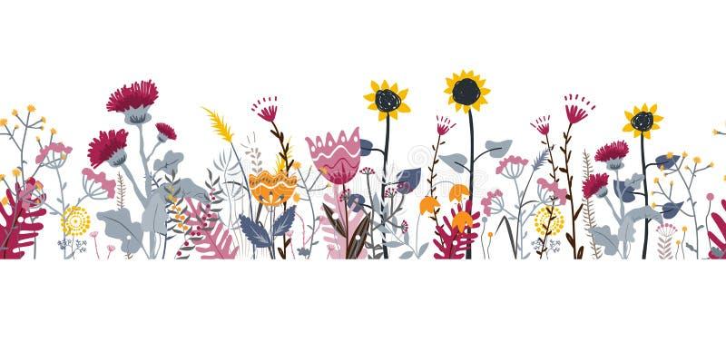 Предпосылка природы вектора безшовная с травами, цветками и листьями руки вычерченными дикими на белизне Стиль Doodle флористичес иллюстрация штока