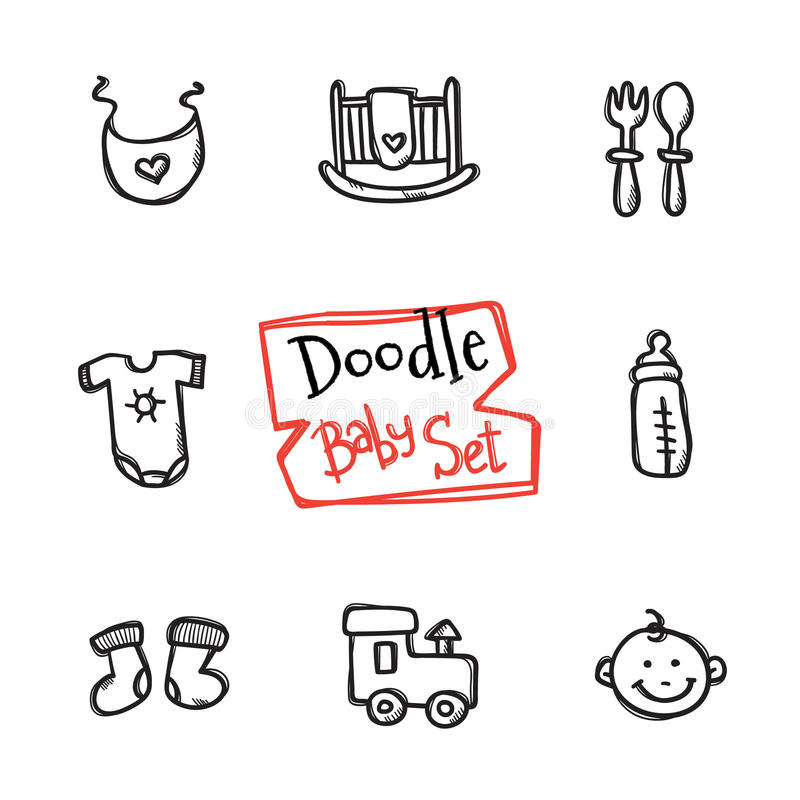 Vector doodle baby icons set. Cute hand drawn collection of kids objects. Vector doodle style baby icons set. Cute hand drawn collection of kids objects stock illustration