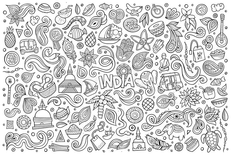 Vector Doodle Cartoon Set Of Indian Objects And Symbols Stock Vector