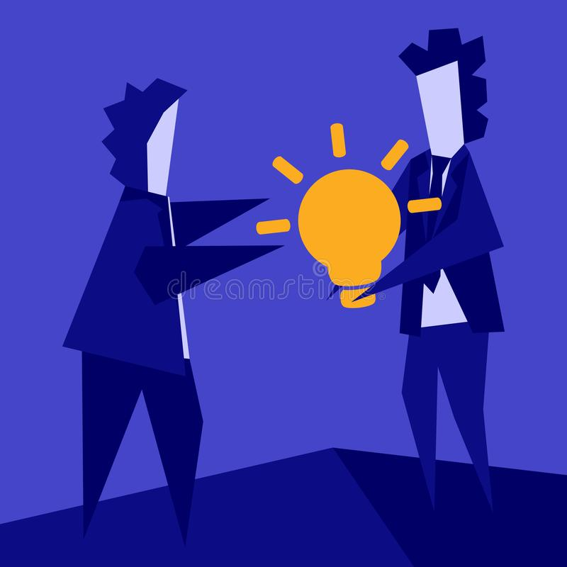 Vector doodle - concept of teamwork, business development assistance, sharing an idea. A simple flat symbolic illustration of how. One person gives another a royalty free illustration