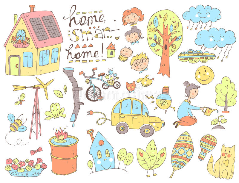 Vector doodle cute collection of ecology and family. Nature, alt. Ernative energy sources, resource saving, smart house. Color handdrawn illustration, cartoon vector illustration