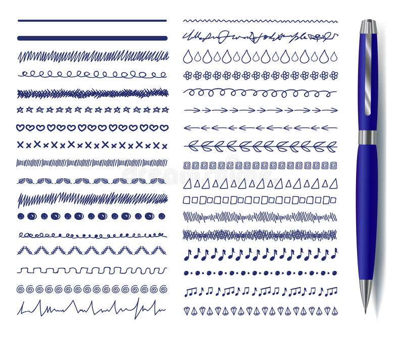 Vector Doodle Decrotaive Lines Set with Realistic Blue Pen, Drawings Collection Isolated. stock illustration
