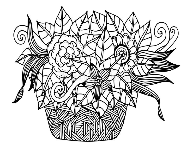 Vector Doodle Floral Illustrated. Bouquet Of Flowers In A Vase, Hand ...