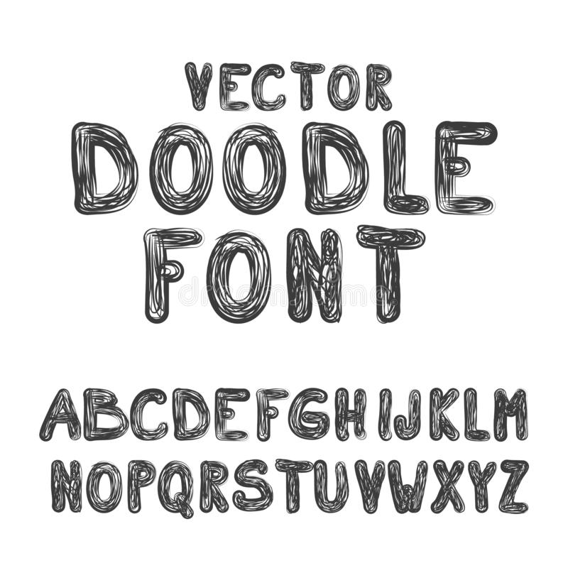 Vector Doodle Font ABC Hand Drawn Style Alphabet. Letters Set Isolated on White Background vector illustration