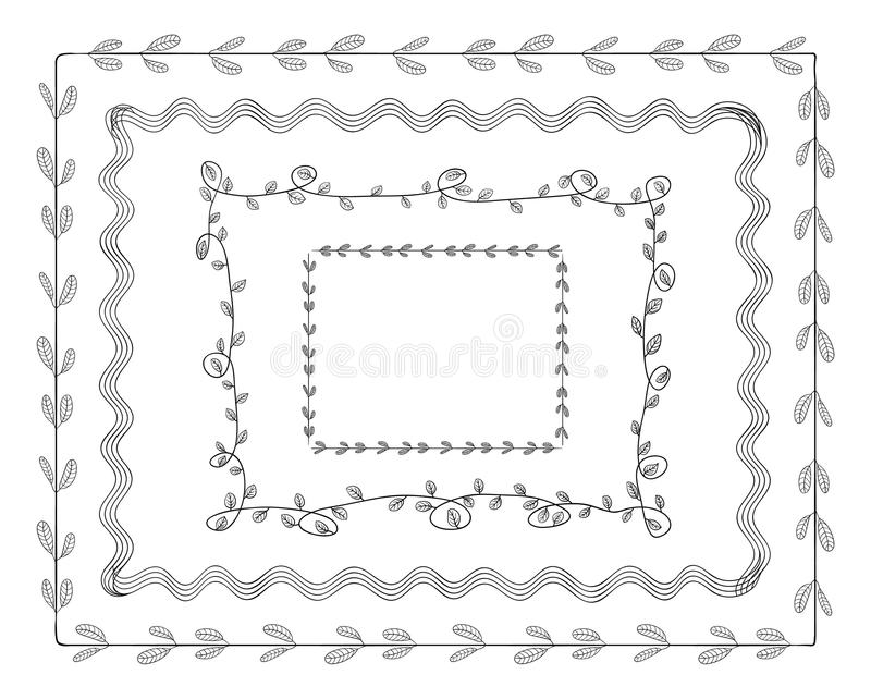 Vector Doodle Frames Set Isolated on White Background, Cute Illustration Tamplate, Borders. royalty free illustration