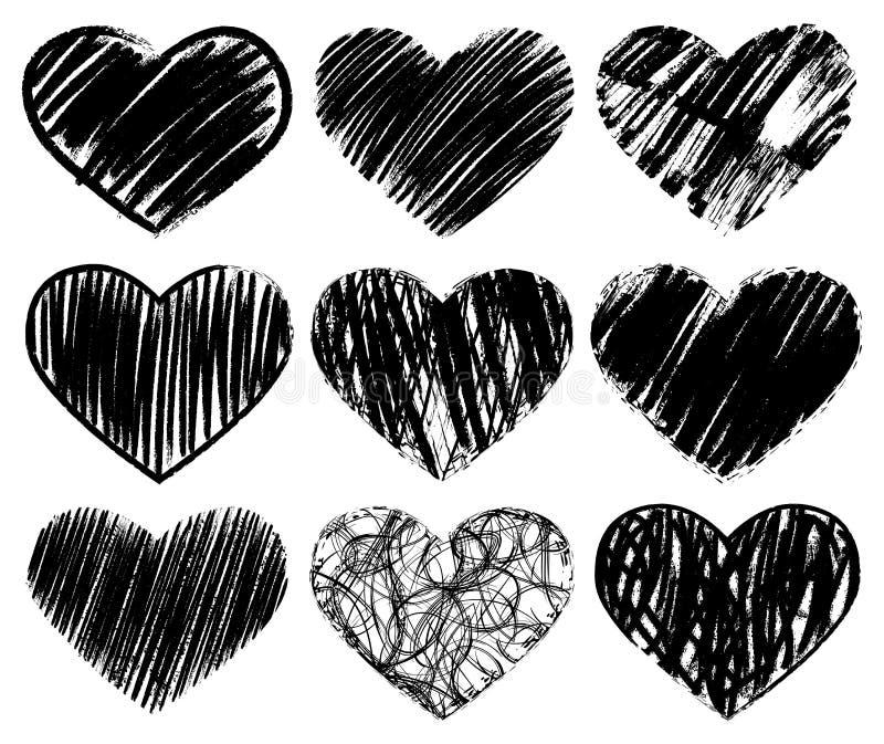 Vector doodle hand-drawn grunge black hearts set vector illustration