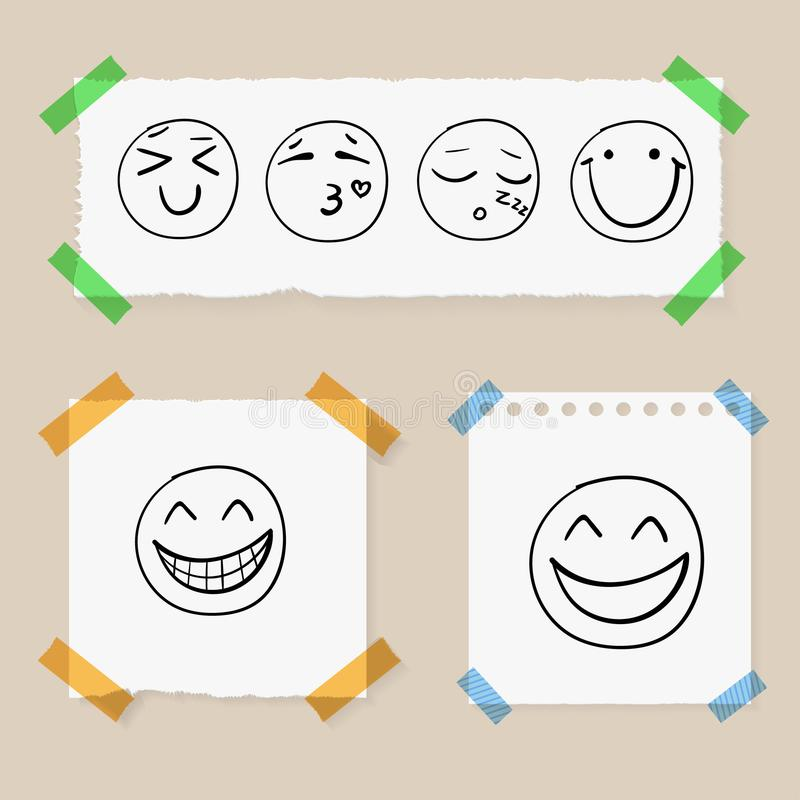 Vector Doodle Hand Drawn Smiley Faces on Paper Pieces Attached by Colorful Tape, Set. vector illustration