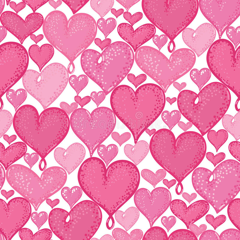 Vector doodle hearts seamless repeat pattern background design. Great for romantic Valentine Day cards, wrapping paper vector illustration