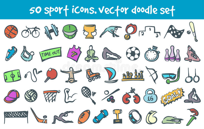 Vector doodle icons set stock illustration
