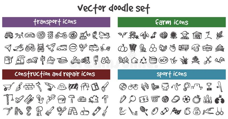 Vector doodle icons set vector illustration