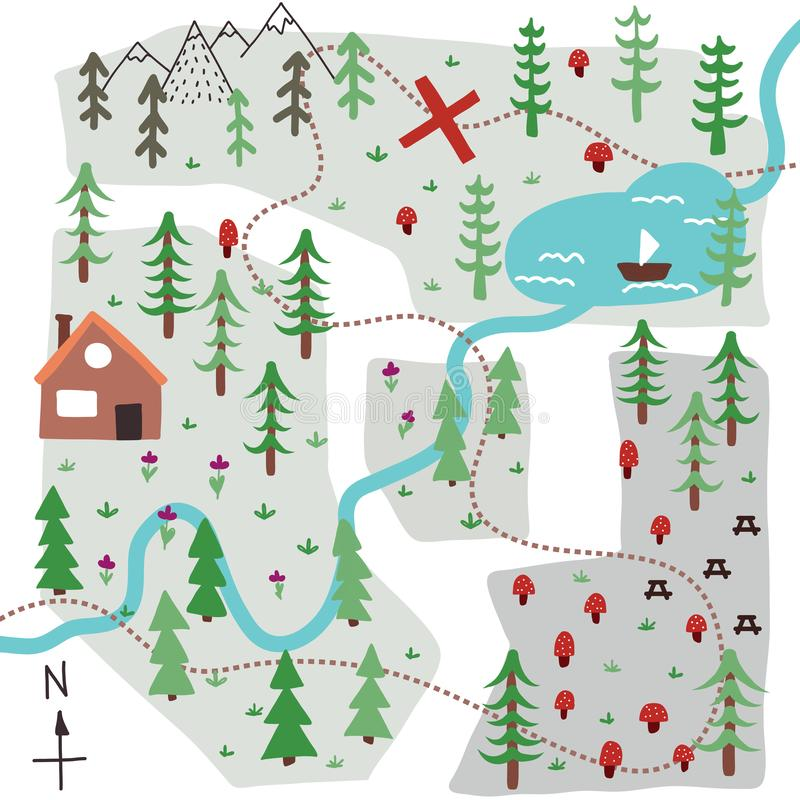 Vector doodle map stock illustration