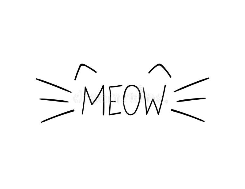 Vector Doodle Meow Illustration, Cat Whiskers Hand Drawn Illustration. royalty free illustration