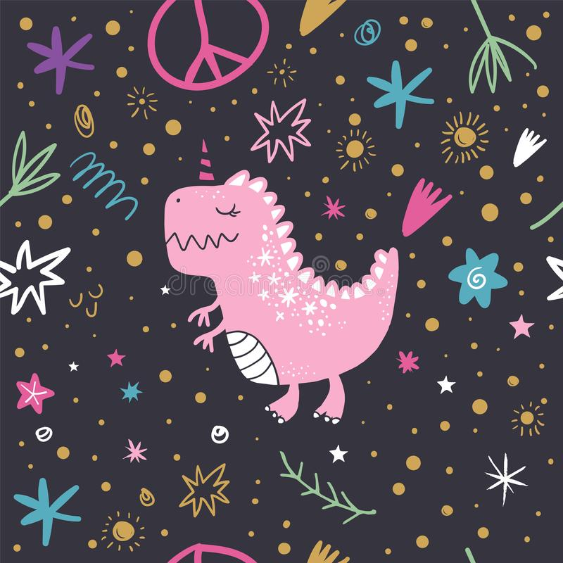 Vector doodle pattern, cute dinosaur art. Textile or wrapping paper design stock illustration