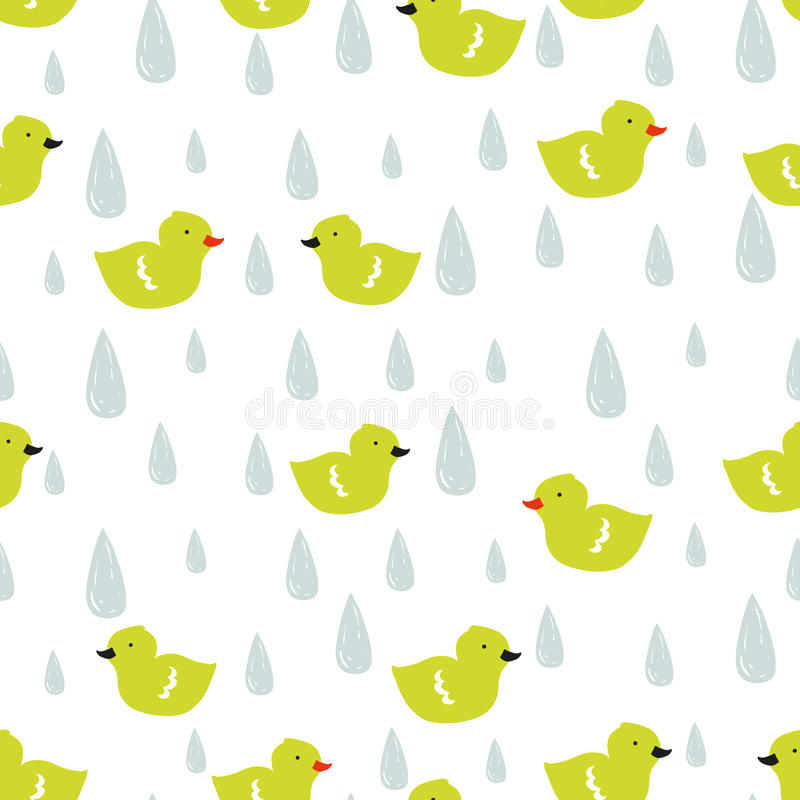 Vector doodle pattern with ducklings and raindrops. royalty free illustration