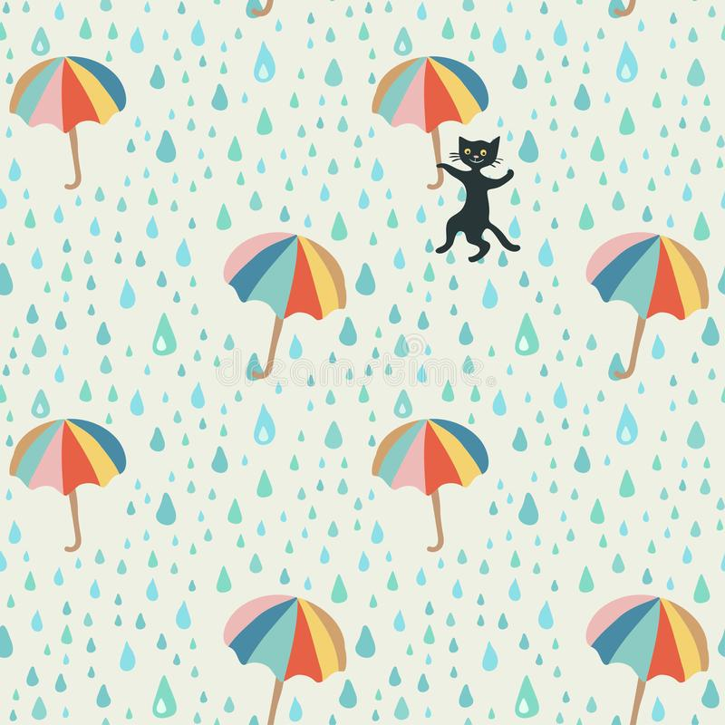 Vector doodle pattern with rain drop, flying umbrellas and mischievous black cat. Beautiful abstract pattern, season royalty free illustration