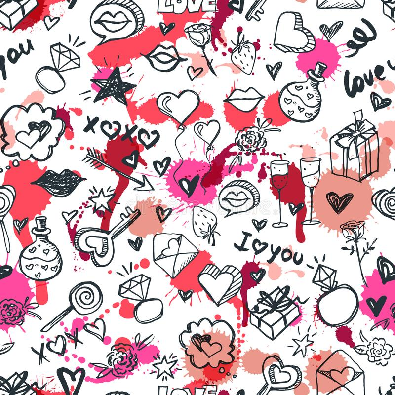 Vector doodle romantic seamless pattern. Design for fashion textile print, wrapping, valentines day backgrounds. royalty free illustration