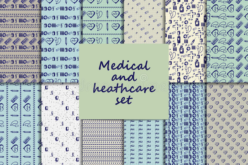 Vector doodle seamless paterns. Medicine icons set royalty free illustration
