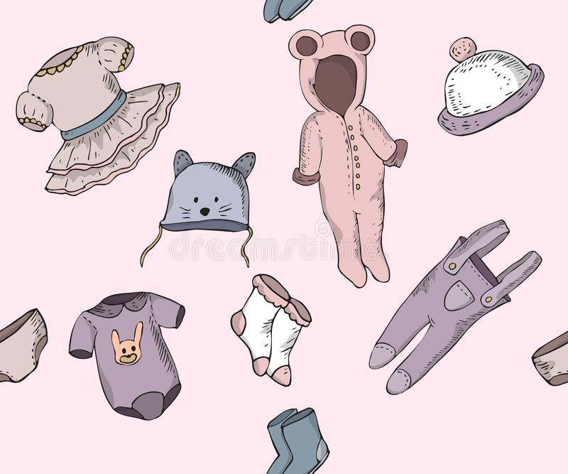Seamless pattern with baby sketches of clothes vector illustration