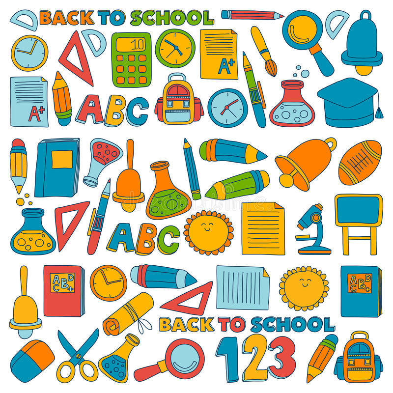 Vector doodle set of education symbols Back to school royalty free illustration
