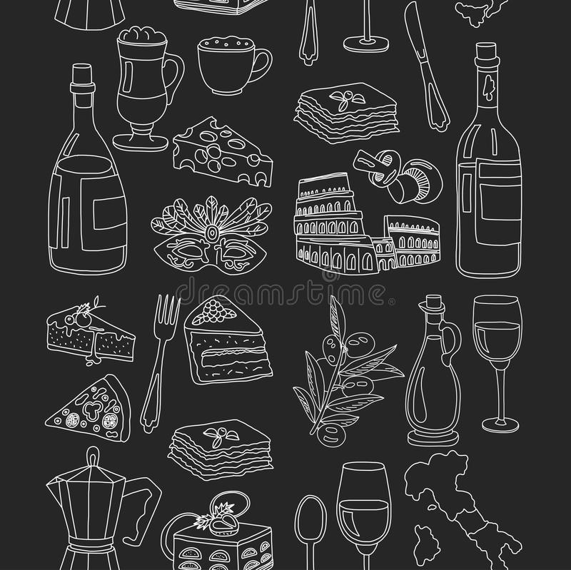 Vector doodle set for italian menu. Food Travel Cuisine Restaraunt Journey royalty free illustration
