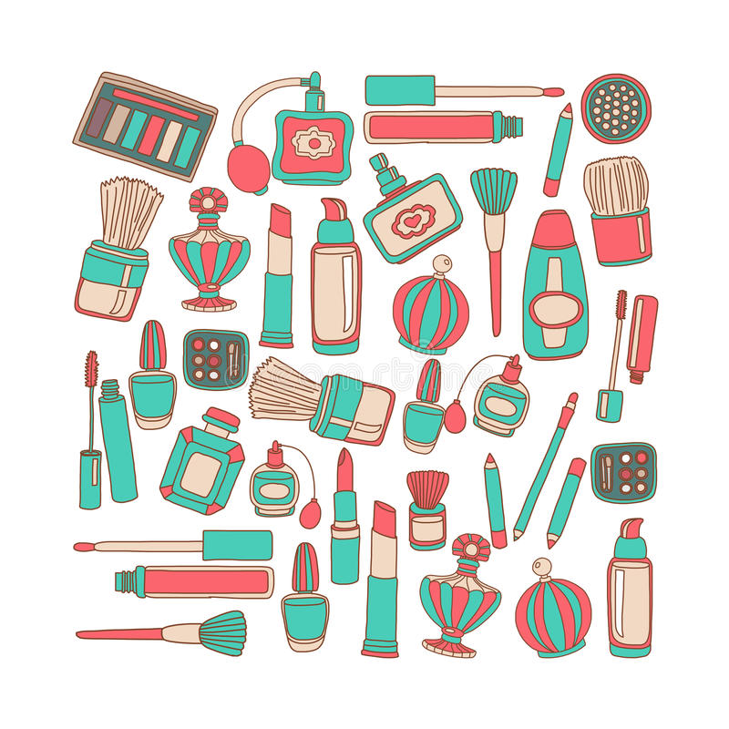 Vector doodle set of perfume and cosmetics. Hand drawn icons royalty free illustration