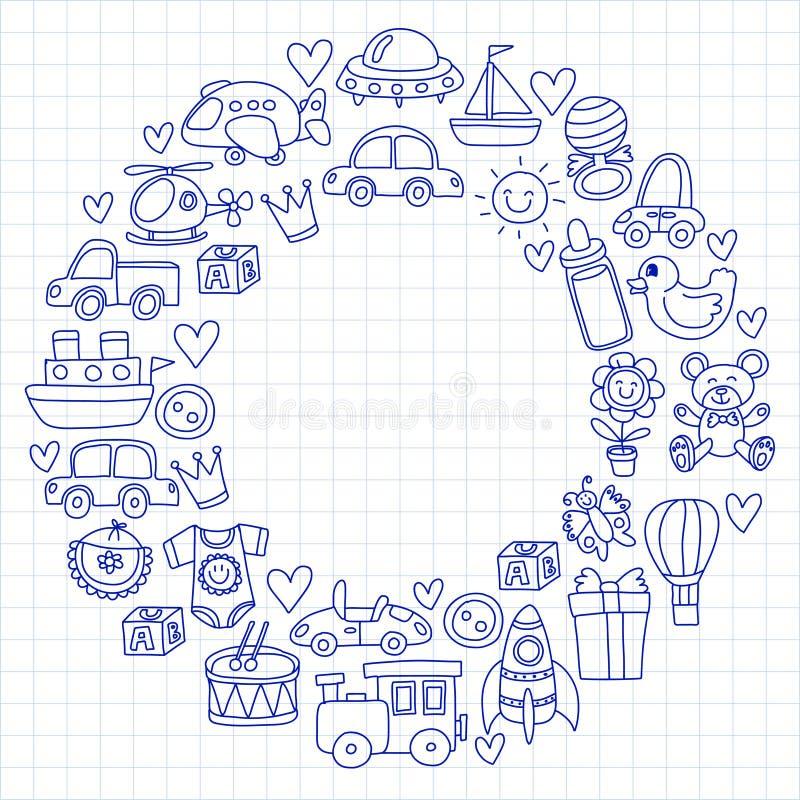 Vector doodle set with toys for shop, store, kindergarten, nursery Hand drawn vector illustration vector illustration