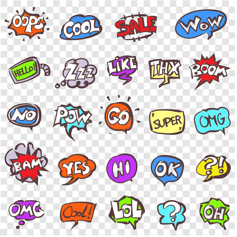 Vector doodle speech clouds icons set. Stock cartoon signs for design royalty free illustration
