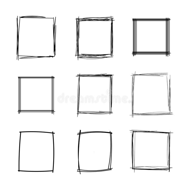 Vector Doodle Squares Set, Blank Frames Collection, Black Scribble Geometric Shapes Isolated. stock illustration